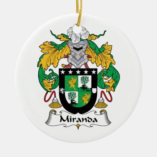 Miranda Family Crest Christmas Tree Ornaments