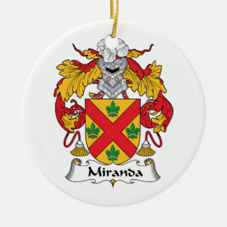 Miranda Family Crest Round Ceramic Decoration