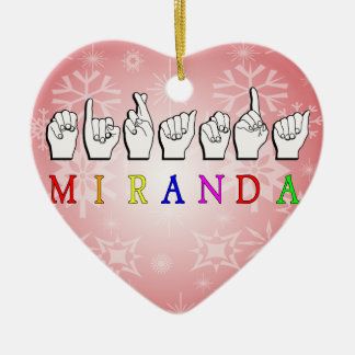 MIRANDA FINGERSPELLED NAME SIGN CERAMIC HEART DECORATION