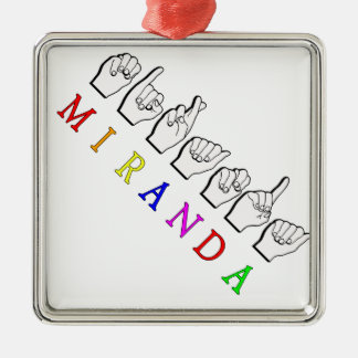MIRANDA FINGERSPELLED NAME SIGN Silver-Colored SQUARE DECORATION