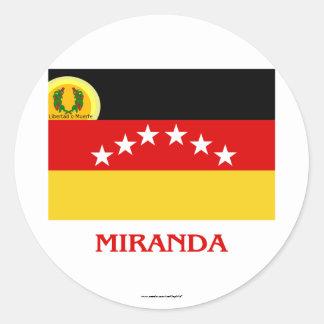 Miranda Flag with Name Round Sticker