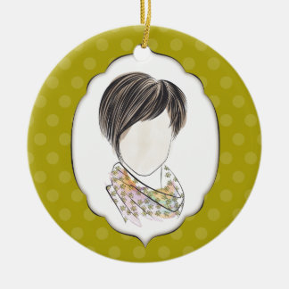Miranda - portrait of a woman Double-Sided ceramic round christmas ornament