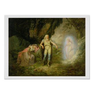 Miranda, Prospero and Ariel, from 'The Tempest' by Poster