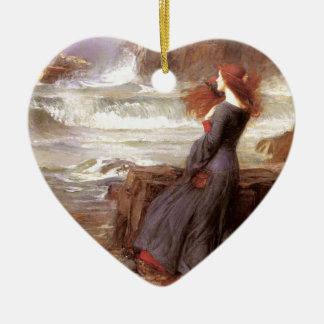 MiRANDA - ThE TeMPEST, by John William Waterhouse Ceramic Heart Decoration