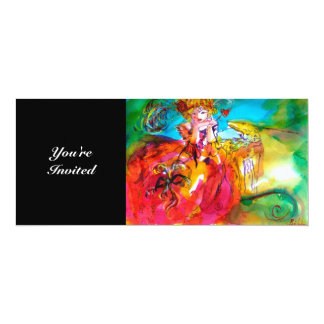 "MIRANDOLINA,bright sparkles yellow brown red green 4"" X 9.25"" Invitation Card"