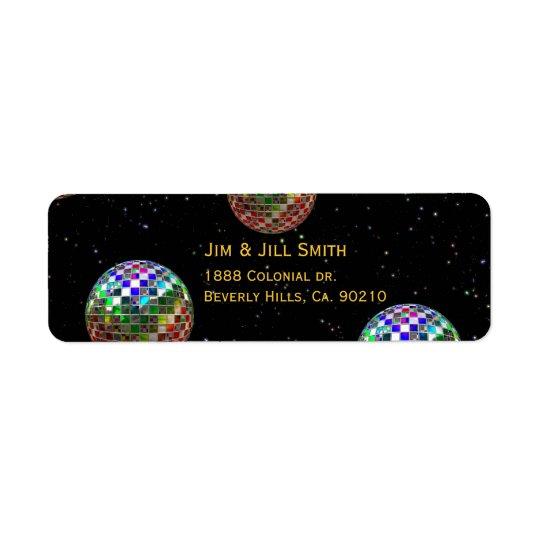 Mirror Ball Party New Year Return Address Label
