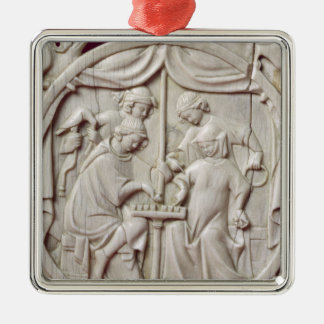 Mirror case depicting a game of chess, c.1300 christmas ornament