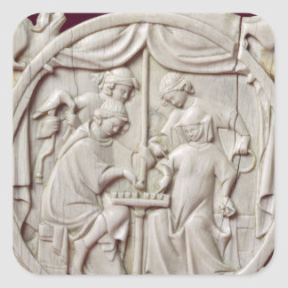 Mirror case depicting a game of chess, c.1300 square sticker