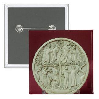Mirror case depicting courtly scenes, c.1320-30 15 cm square badge