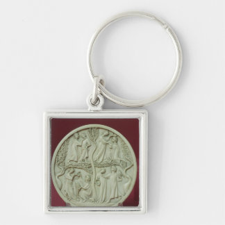 Mirror case depicting courtly scenes, c.1320-30 Silver-Colored square key ring