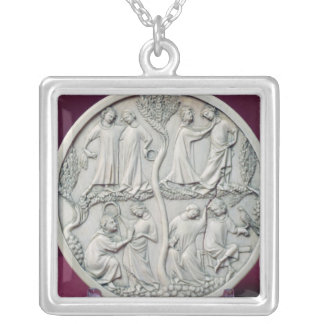 Mirror case depicting courtly scenes, c.1320-30 square pendant necklace
