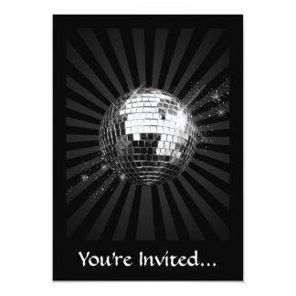 Mirror Disco Ball on Black 13 Cm X 18 Cm Invitation Card