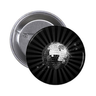 Mirror Disco Ball on Black 6 Cm Round Badge