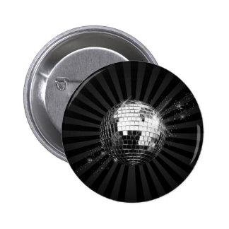 Mirror Disco Ball on Black Button