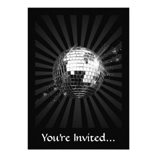 Mirror Disco Ball on Black Personalized Invites
