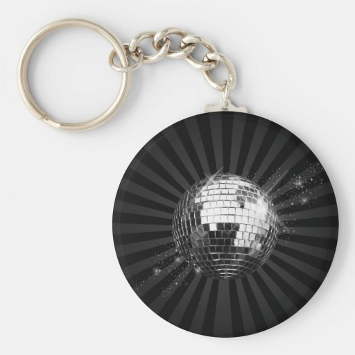 Mirror Disco Ball on Black Key Chains