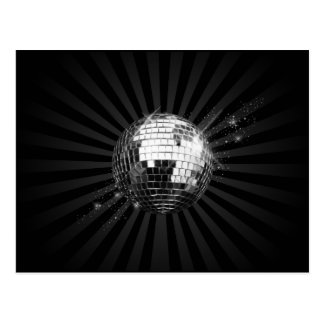 Mirror Disco Ball on Black Postcard