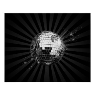 Mirror Disco Ball on Black Poster