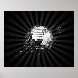 Mirror Disco Ball on Black Poster