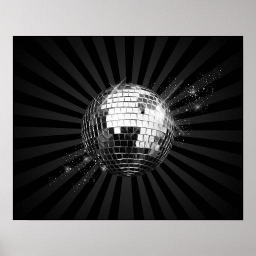 Mirror Disco Ball on Black Posters