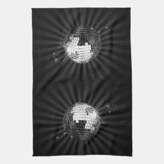 Mirror Disco Ball on Black Tea Towel