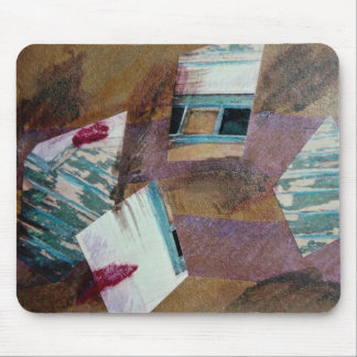 Mirror fragments, mixed media, collage on paper mouse pads