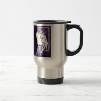 mirror image: artistic nude charcoal drawing travel mug