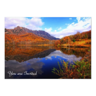 Mirror Lake Autumn Landscape Reflection Water Fall 13 Cm X 18 Cm Invitation Card