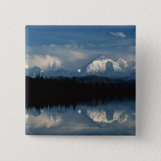 Mirror Lake Horizon with Forest & Snowy Mountains 15 Cm Square Badge