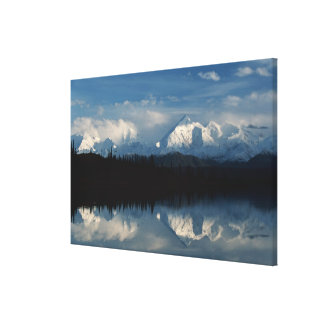 Mirror Lake Horizon with Forest & Snowy Mountains Canvas Print