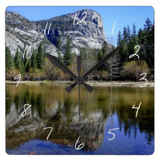 Mirror Lake Square Wall Clock