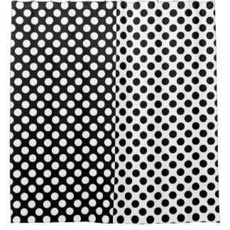 Mirror Opposites Black and White Polka Dot Shower Curtain