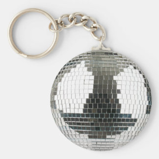 Mirrorball Disco Ball Basic Round Button Key Ring