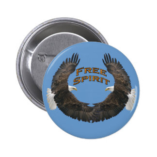 Mirrored Bald Eagles Free Spirit Art Buttons