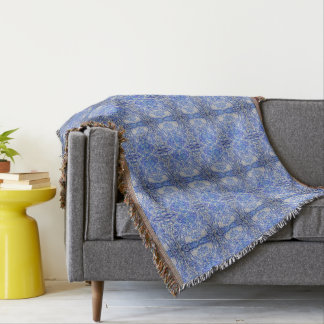 Mirrored Blue Foliage Patterned Throw Blanket
