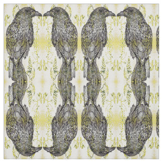 Mirrored Crow and Grapes Fabric