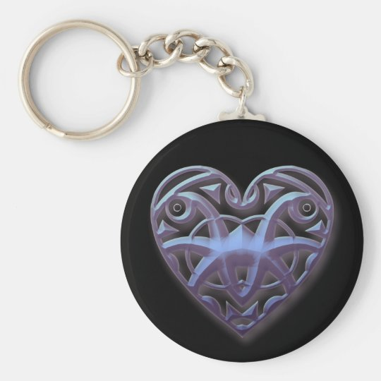 Mirrored Hearts Basic Round Button Key Ring