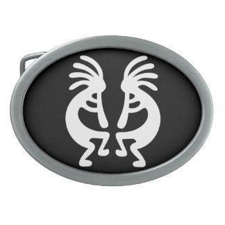 Mirrored Kokopelli Oval Belt Buckle