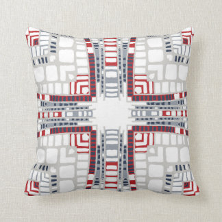 Mirrored layers in red and grey throw pillow