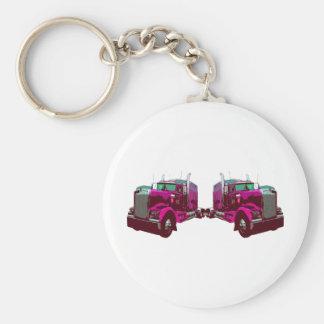 Mirrored Pink Semi Truck Keychain
