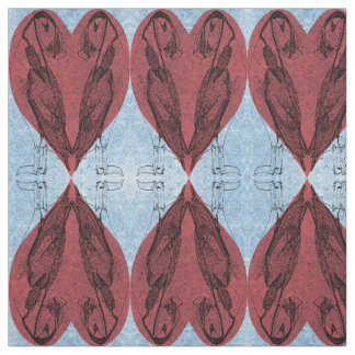 Mirrored Puffin Hearts Fabric
