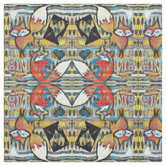 Mirrored Red Foxes and Hearts Pattern Fabric