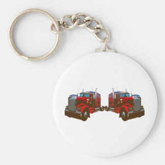 Mirrored Red Semi Truck Basic Round Button Key Ring