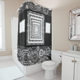 Mirrors white black showercurtain shower curtain