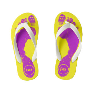 Mirth Purple Footprints Smiley-Toes™ Neon Yellow Flip Flops