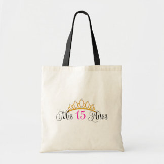 Mis 15 Anos Quinceanera Gold Tiara Pink Budget Tote Bag