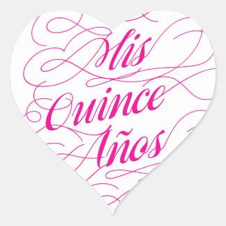 Mis Quince Años Heart Sticker Pink | Quinceañera