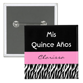 Mis Quince Anos Quinceanera Zebra with Pink 15 Cm Square Badge