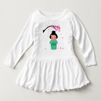 Misaki Toddler Ruffle Dress, White Tee Shirt