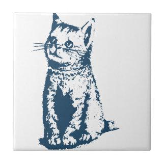 Miscellaneous - Blue Vintage: Cat Tile